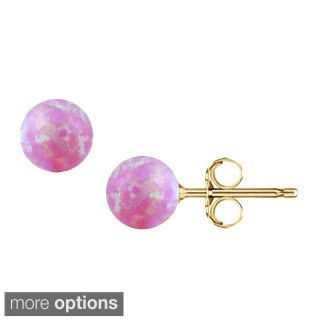 Pori 14k Gold Created Pink Opal Ball Stud Earrings