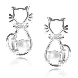 Journee Collection Sterling Silver CZ with Pearl Accent Cat Earrings