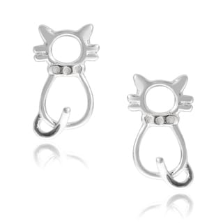 Journee Collection Sterling Silver Cat Stud Earrings