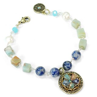 Sweet Romance Gemstone Beaded OceanFlower Boho Bracelet - Blue