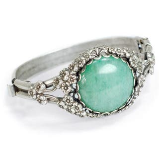 Sweet Romance Green Aventurine Silver Asian Bracelet|https://ak1.ostkcdn.com/images/products/10151307/P17280982.jpg?impolicy=medium