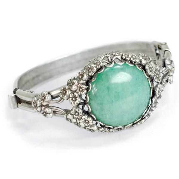 Sweet Romance Green Aventurine Silver Asian Bracelet