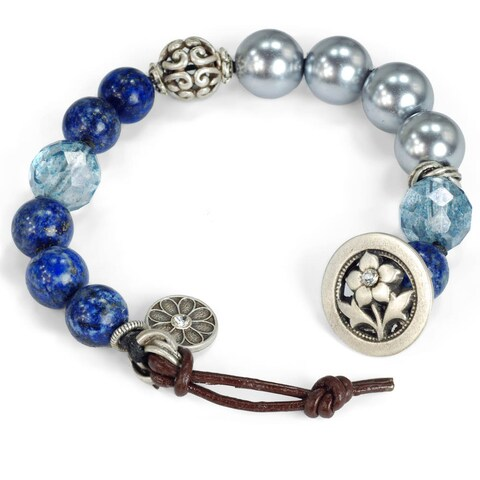 Sweet Romance Leather and Knotted Gemstone Chakra Bracelet