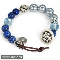 Sweet Romance Leather and Knotted Gemstone Chakra Bracelet