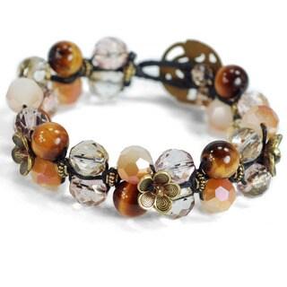 Sweet Romance Gemstone Leather Wrap Bracelet
