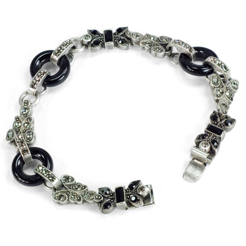 Sweet Romance Art Deco Black and Silver Vintage Marcasite...