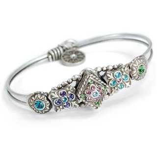 Sweet Romance Blue Swarovski Silver Bangle Bracelet