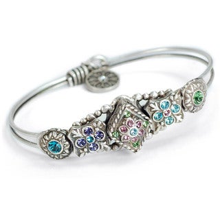 Sweet Romance Blue Swarovski Elements Silver Bangle Bracelet
