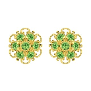 Lucia Costin Gold Over Sterling Silver Light Green Crystal Stud Earrings