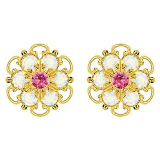Lucia Costin Gold Over Sterling Silver Pink White Crystal Earrings