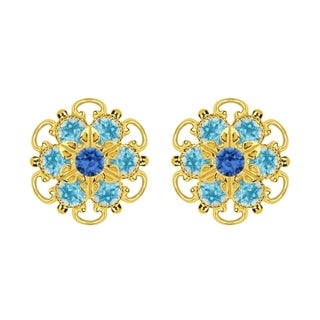 Lucia Costin Gold Over Sterling Silver Light Blue Crystal Earrings