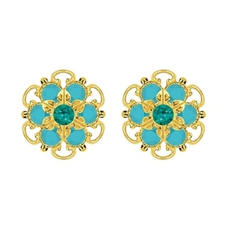 Lucia Costin Gold Over Sterling Silver Turquoise/ Green Turquoise Crystal Earrings