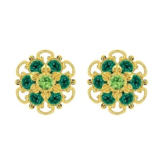Lucia Costin Gold Over Sterling Silver Light Green Dark Green Crystal Earrings