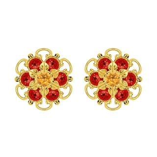Lucia Costin Gold Over Sterling Silver Yellow Red Crystal Earrings