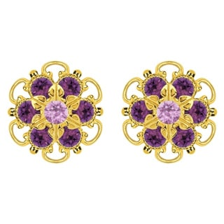 Lucia Costin Gold Over Sterling Silver Lilac Violet Crystal Earrings