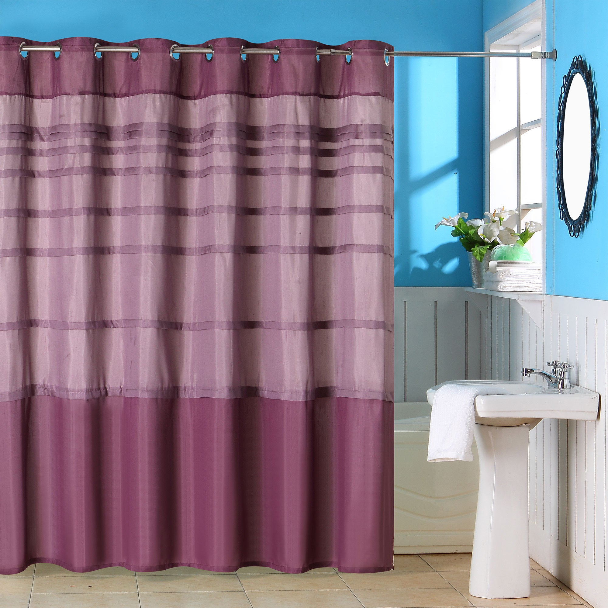 Windsor Home Striped Purple Shower Curtain With Grommets