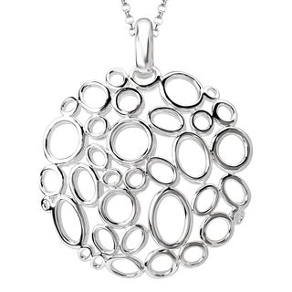 Avanti Sterling Silver Round Cut-out Design Necklace