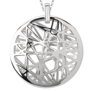 Avanti Sterling Silver Woven Design Medallion Necklace