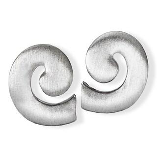 Avanti Sterling Silver Swirl Design Satin Finish Earrings