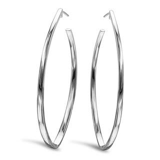 Avanti Sterling Silver Marquise Shape Hoop Earrings