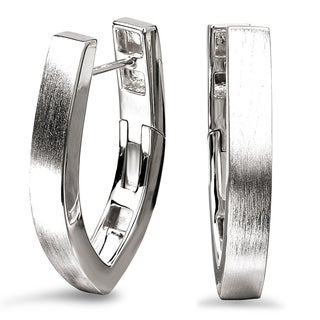Avanti Sterling Silver Satin Finish V-Shape Hoop Earrings