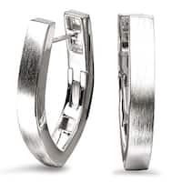 Avanti Sterling Silver Satin Finish V-Shape Hoop Earrings