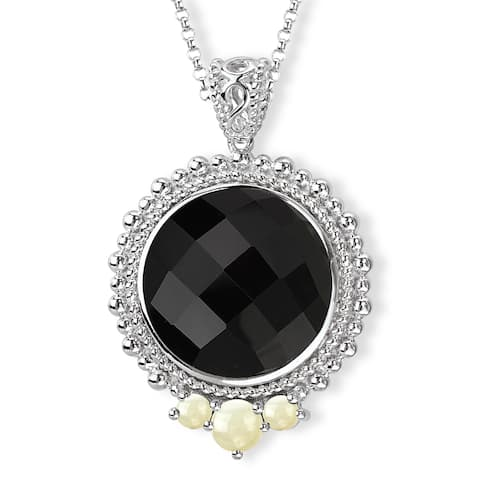 Avanti Sterling Silver Black Onyx and Moonstone Necklace