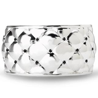 Avanti Sterling Silver Black Spinel Wide Cuff Bracelet