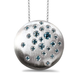 Avanti Sterling Silver Blue Topaz Round Satin Finish Necklace