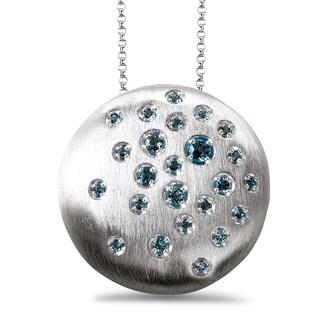 Avanti Sterling Silver Blue Topaz Round Satin Finish Necklace