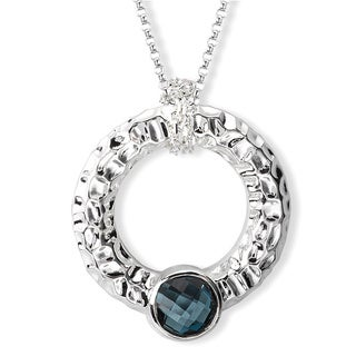 Avanti Sterling Silver London Blue Topaz Hammered Circle Necklace