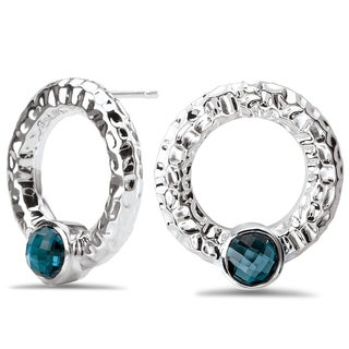 Avanti Sterling Silver London Blue Topaz Hammered Circle Earrings