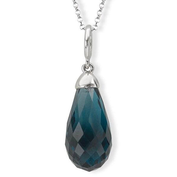 Avanti Sterling Silver London Blue Topaz Briolette Necklace