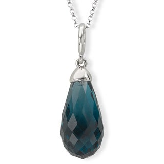 Avanti Sterling Silver London Blue Topaz Briolette Necklace