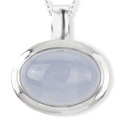 Avanti Sterling Silver Oval Chalcedony Necklace