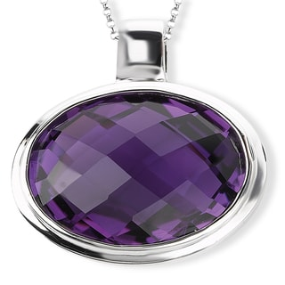 Avanti Sterling Silver Oval Bezel-set Amethyst Necklace