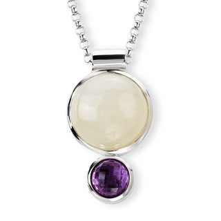 Avanti Sterling Silver Moonstone and Amethyst Necklace
