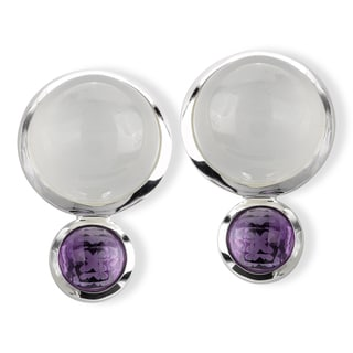 Avanti Sterling Silver Bezel-set Moonstone and Amethyst Earrings