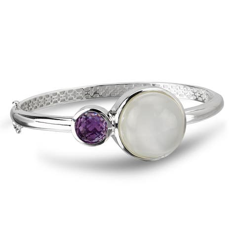 Avanti Sterling Silver Bezel-set Moonstone and Amethyst Bangle Bracelet