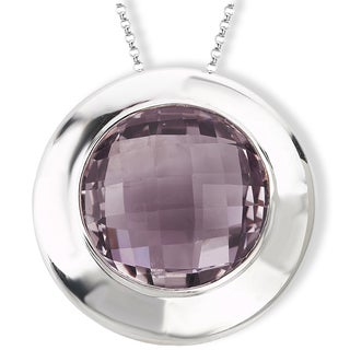 Avanti Sterling Silver Pink Quartz Round Pendant Necklace