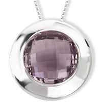 Avanti Sterling Silver Pink Quartz Round Pendant Necklace
