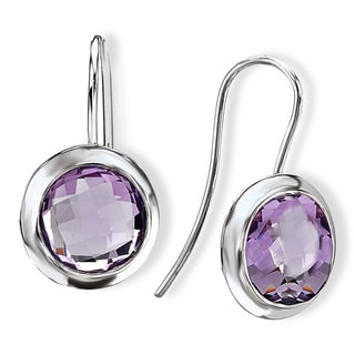 Avanti Sterling Silver Bezel-set Pink Quartz Dangle Earrings