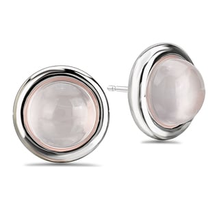 Avanti Sterling Silver Rose Quartz Cabochon Stud Earrings