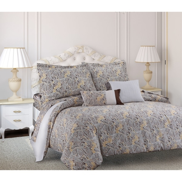 Tribeca Living Fiji Printed Cotton Paisley 5-piece Duvet Cover Set