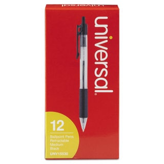 Universal Economy Black Ink Retractable Ballpoint Pen (6 Packs of 12)