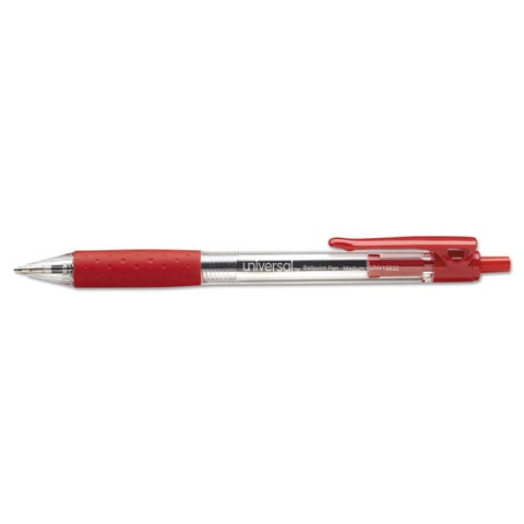 Universal Red Ink Economy Retractable Ballpoint Pen (6 Packs of 12)
