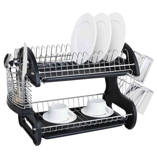 Sweet Home Collection Sleek Contemporary Design 2-tier Black Dish Drainer