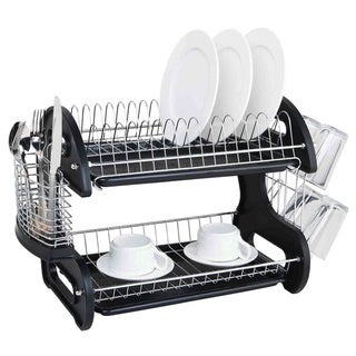 Sleek Contemporary Design 2-tier Black Dish Drainer