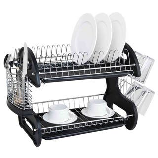 Sweet Home Collection 2-tier Black Dish Drainer https://ak1.ostkcdn.com/images/products/10151487/P17281259.jpg?impolicy=medium
