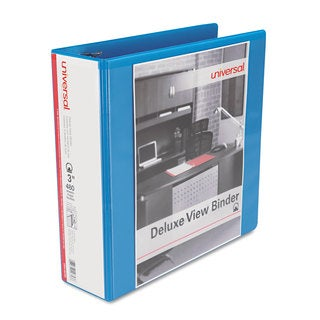 Universal Deluxe Light Blue Round Ring View Binder (Pack of 3)